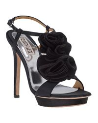 Badgley Mischka | Randee Evening Sandal Black Satin | Lyst