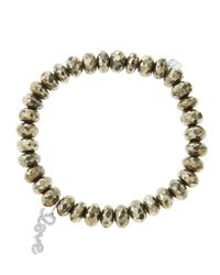 Sydney Evan | Metallic 8Mm Faceted Champagne Pyrite Beaded Bracelet With 14K White Gold/Diamond Love Charm (Made To Order) | Lyst