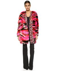 Giamba Multicolor Faux Fur Coat - Pink Multi