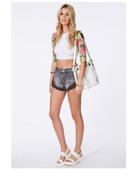 Missguided - Green Tiffiny Tropical Sleeve Crop Top - Lyst