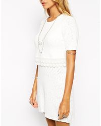 ASOS - White Double Layer Skater Dress With Crochet Detail - Lyst