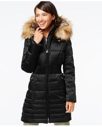 Laundry by Shelli Segal | Black Faux-fur-hood Down Puffer Coat | Lyst