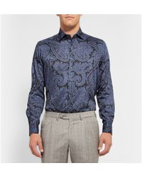 Etro - Blue Paisley Cotton Double-Cuff Shirt for Men - Lyst