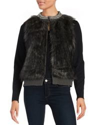 MICHAEL Michael Kors | Gray Chain-accented Faux Fur And Knit Vest | Lyst
