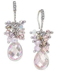 INC International Concepts - Metallic Silver-tone Large Cluster Drop Earrings - Lyst