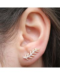 Anne Sisteron - 14kt Yellow And White Gold Diamond Leaf Ear Cuff - Lyst