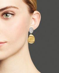 Marco Bicego | Metallic Diamond Lunaria Two Drop Small Earrings In 18k Gold | Lyst