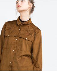 Zara | Brown Fringed Overshirt | Lyst