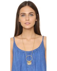 Madewell - Metallic Fringe Hoop Statement Necklace - Lyst