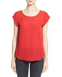 Joie | Red 'rancher' Silk Pocket Top | Lyst