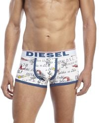 DIESEL | Blue Printed Low Rise Trunks for Men | Lyst