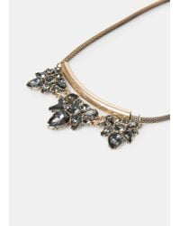 Violeta by Mango - Metallic Faceted Crystal Necklace - Lyst