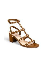 Valentino | Brown 'rockstud' Sandal | Lyst