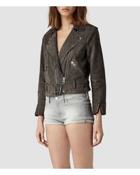 AllSaints - Gray Hind Leather Biker Jacket - Lyst