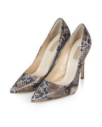 TOPSHOP Natural Gallop Snake-effect Court Shoes