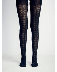 Free People | Black Womens Voyager Pointelle Tight | Lyst