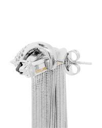 Iosselliani | Metallic Perforated Cheetah Head Crystal Fringe Earrings | Lyst