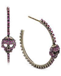 Steve Madden | Goldtone Pink Crystal Skull Hoop Earrings | Lyst