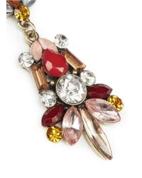 Kenneth Jay Lane Red Crystal And Stone Drop Earrings