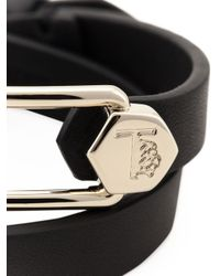 Tod's Black Leather And Metal Cuff Bracelet
