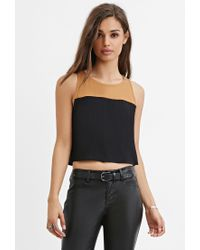 Forever 21 - Black Colorblocked Crop Top - Lyst