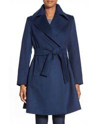 Trina Turk Blue 'violet' Wool Blend Wrap Coat