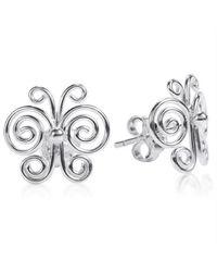 Aeravida | Metallic Enchanted Swirls Butterfly Sterling Silver Post Earrings | Lyst
