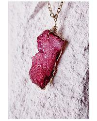 Missguided Purple Semi-precious Stone Pendant Necklace Deep Pink