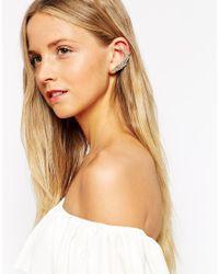 Orelia Gray Large Wing & Stud Earring Cuff