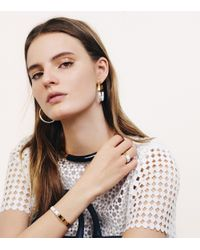 Tory Burch - White Dipped Pierced-T Ring - Lyst