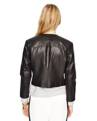 kate spade new york - Black Zip-up Leather Jacket - Lyst