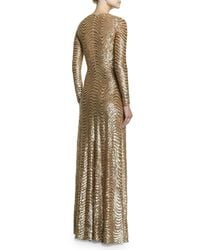 Michael Kors - Metallic Sequined Wave-print Long-sleeve Gown - Lyst