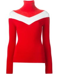 Moncler Grenoble - Red Contrasting Stripe Sweater - Lyst