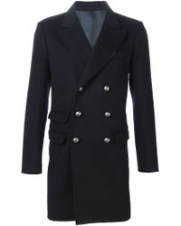 Ermanno Scervino - Black Double Breasted Military Coat for Men - Lyst