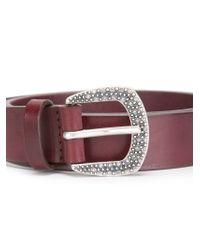 Orciani Red Crystal Embellished Buckle Belt