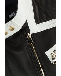 Balmain | Black Bi-Color Leather Jacket | Lyst
