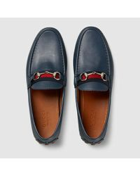 f982ee240 Gucci Men's Horsebit Leather Driver in Gray for Men - Lyst