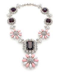 Miu Miu | Pink Swarovski Crystal Flower Pendant Necklace | Lyst