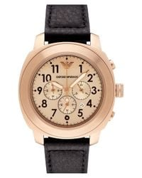 Emporio Armani | Metallic Chronograph Leather Strap Watch for Men | Lyst