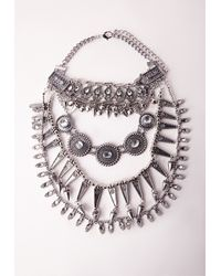 Missguided | Metallic Silver Layered Tribal Statement Necklace | Lyst