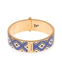 Diane von Furstenberg | Metallic Gold-Plated Square-Print Bracelet | Lyst