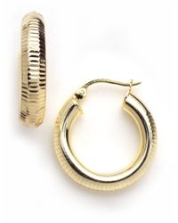 Lord & Taylor | Metallic 18-kt Gold Over Sterling Silver Ribbed Hoop Earrings | Lyst