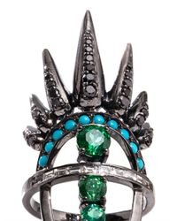 Nikos Koulis | Green Diamond, Emerald, Turquoise & Gold Ring | Lyst