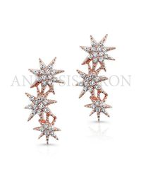 Anne Sisteron | Pink 14kt Rose Gold Diamond Triple Starburst Earrings | Lyst