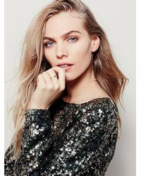 Free People | Pink Zoe Chicco Womens Black Diamond V Ring | Lyst