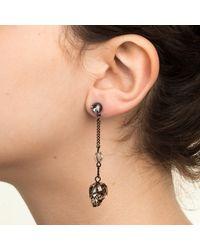 Nadia Minkoff - Metallic Crystal Skull & Spike Earrings, Black Patina - Lyst