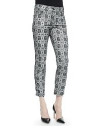 ESCADA - Black Floral Lace-print Cropped Jeans - Lyst