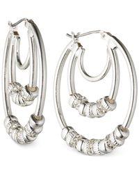 Nine West | Metallic Silver-tone Triple Hoop Earrings | Lyst