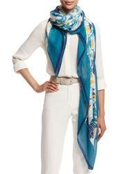Loro Piana - Blue Spring Rose-print Cashmere/silk Scarf - Lyst