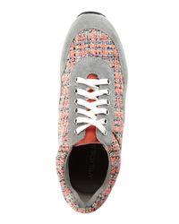 J/Slides - Gray Grey & Coral Jogger Tweed Sneakers - Lyst